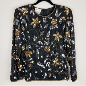 Vintage Stenay Beaded Sequined Blouse